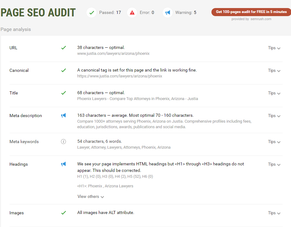 lawyer seo onsite page audit